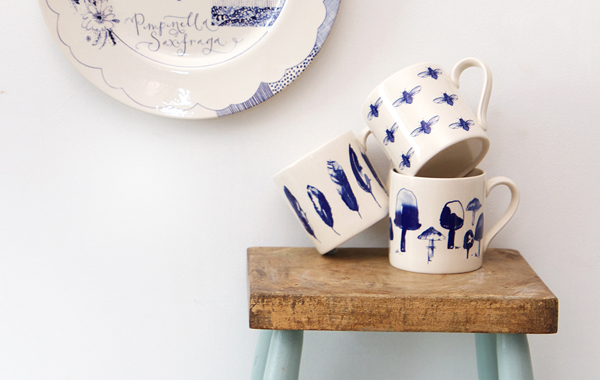 Image of Mugs on a stool by Kate Thornton