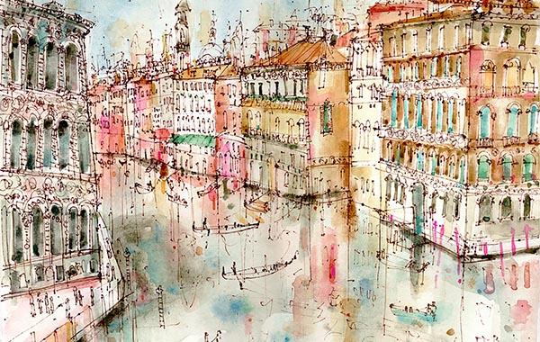 Clare Caulfield, Grand Canal from Accademia Bridge Venice